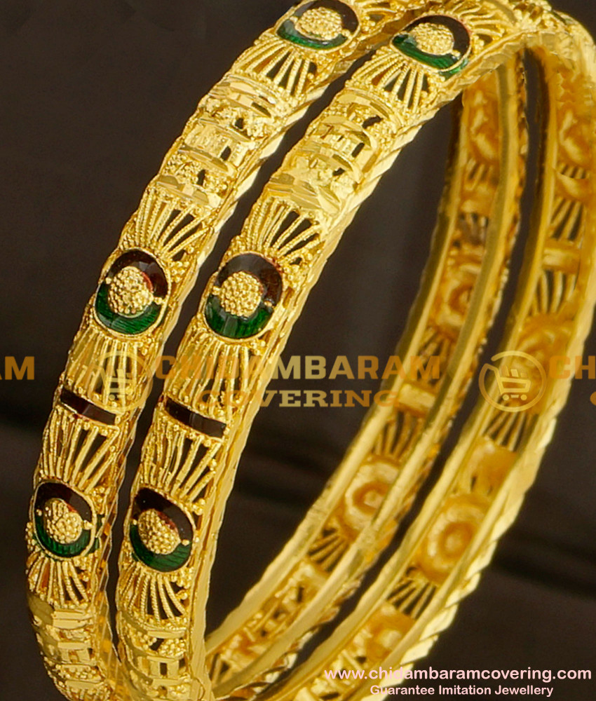 BNG077 - 2.4 Size Gold Look Light Weight Thin Enamel Design Bangles Gold Plated Jewellery Online