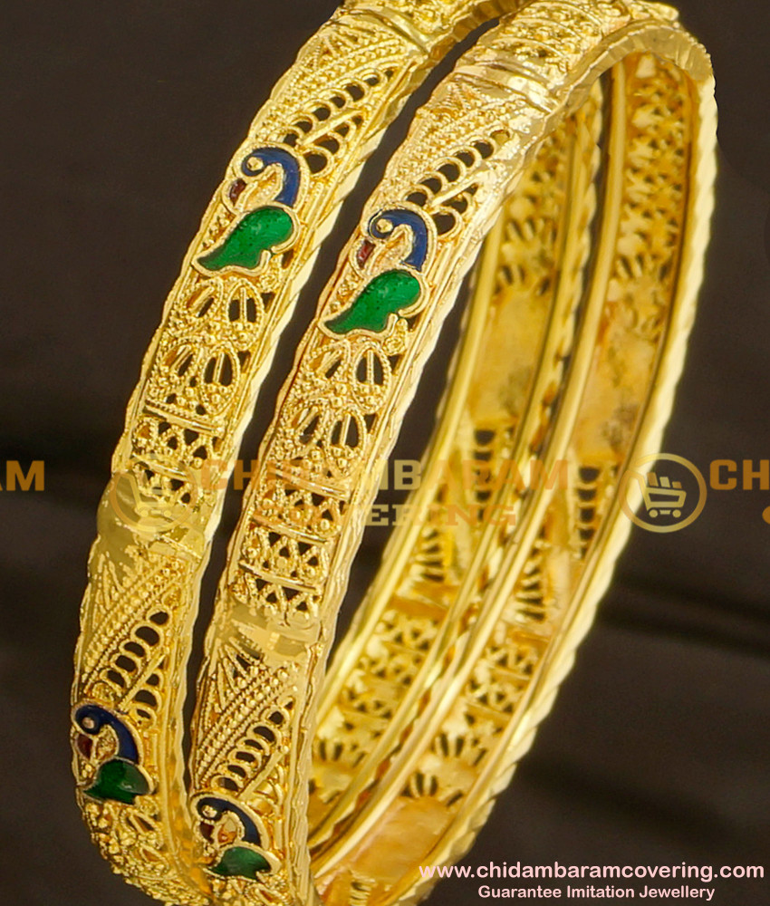 BNG078 - 2.6 Size High Quality Peacock Design Enamel Bangles for Women