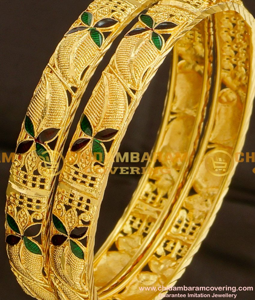 BNG080 - 2.4 Size Colourful Floral Enamel Design Calcutta Bangles Design Collection for Wedding