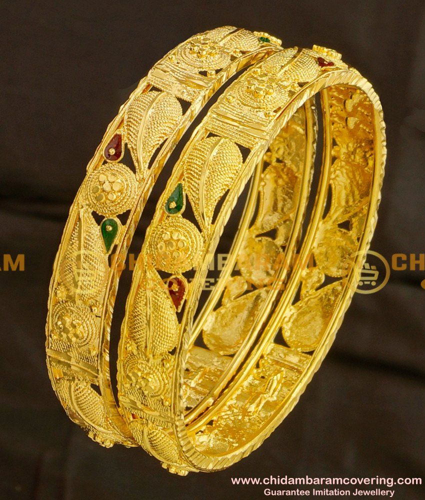 BNG081 - 2.8 Size Beautiful Leaf Design Broad Guarantee Bangles Online Shopping