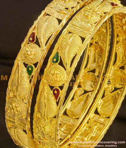 BNG081 - 2.6 Size Beautiful Leaf Design Broad Guarantee Bangles Online Shopping