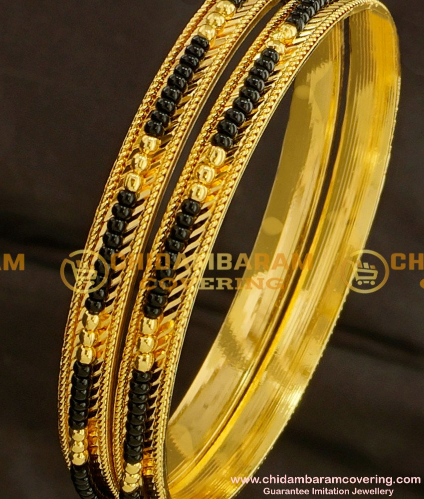 BNG093 - 2.8 Size Traditional Collection Black Bead/Karimani Bangles for Women