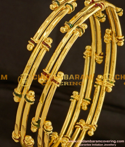 BNG098 - 2.8 Size Gold Look Bamboo Design Enamel Bangles Gold Plated Jewellery Online