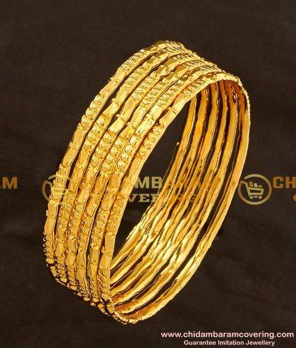 BNG110 - 2.4 Size One Gram Gold Daily Wear 6 Pcs Bangles Imitation Bangle Online
