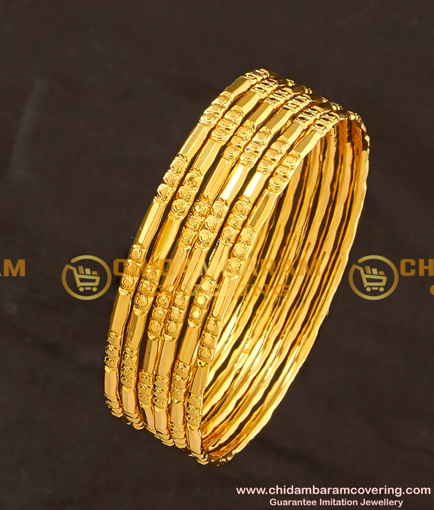 BNG111 - 2.6 Size Bridal Wear One Gram Gold Glass Cutting Design Bangles Online