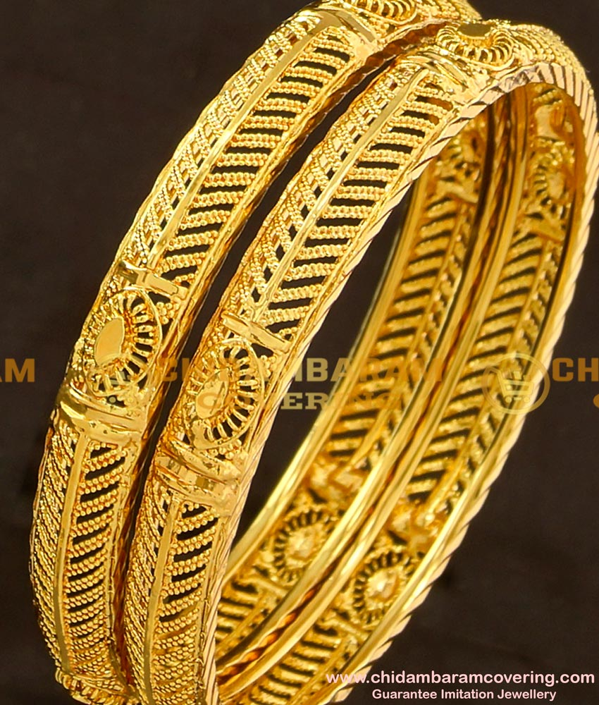 BNG112 - 2.6 Size Gold Look Fancy Bangles Gold Plated Jewellery Online