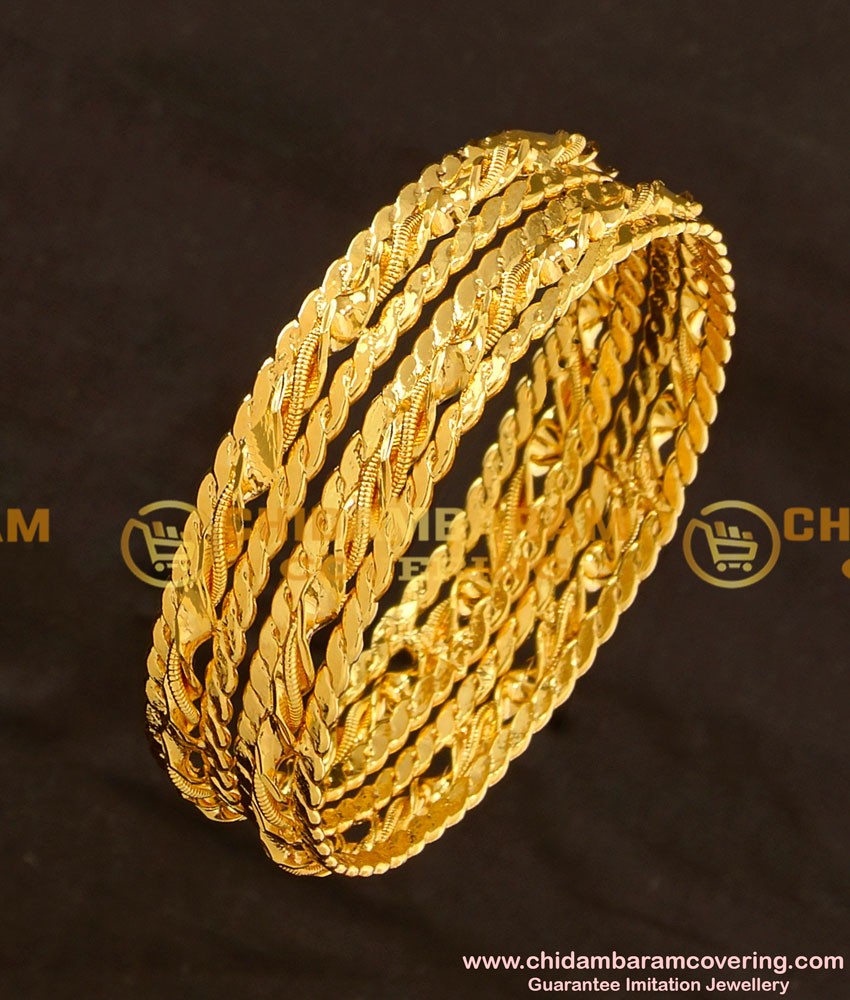 BNG116 - 2.6 Size Gold Plated Thick Metal Twisted Bangles Design
