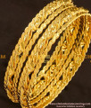 BNG116 - 2.8 Size Gold Plated Thick Metal Twisted Bangles Design
