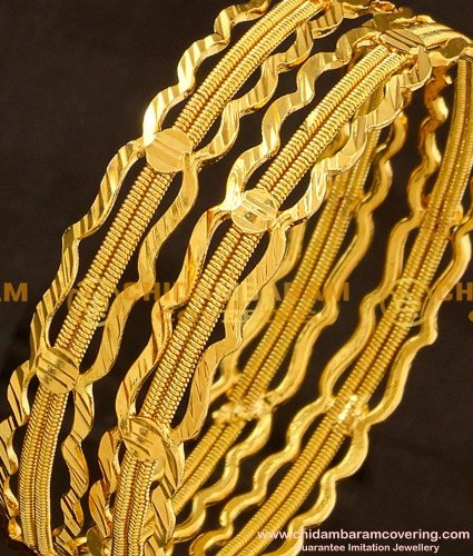 BNG119 - 2.4 Size Bridal Wear Thick Twisted Bangles Bridal Wear Bangle Collection Online