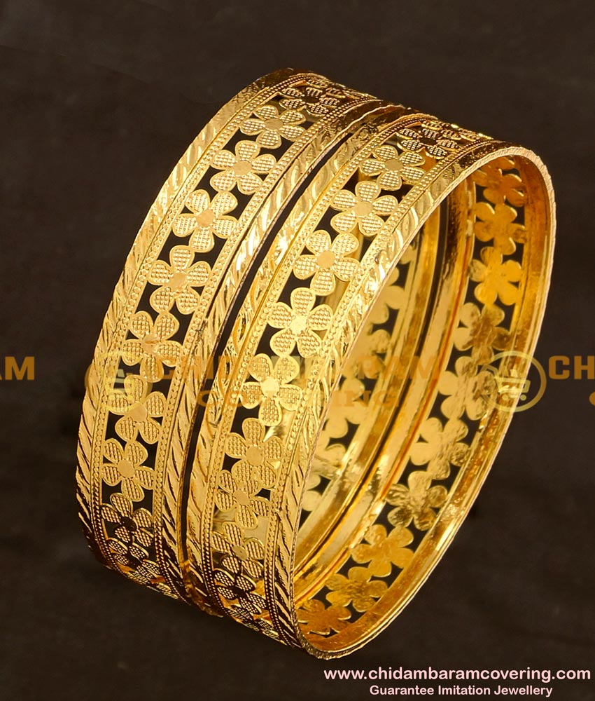 BNG120 - 2.4 Size High Quality Party Wear Floral Design Flat Bangles Design Online