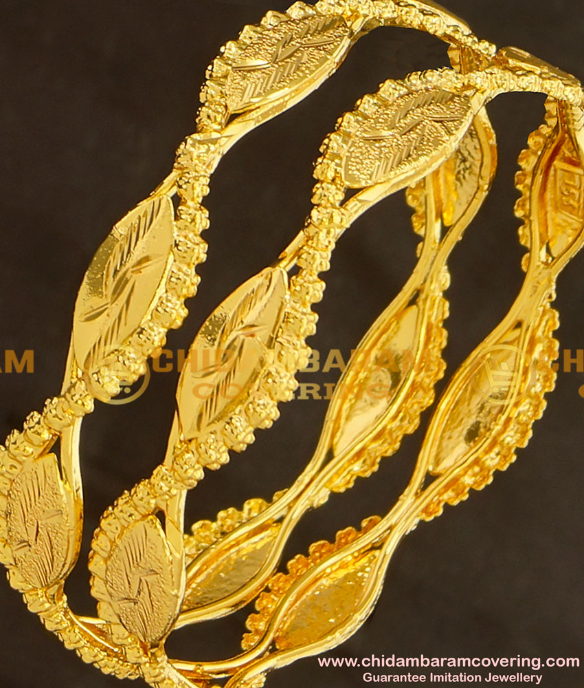 BNG124 - 2.6 Size South Indian One Gram Gold Bangles Design for Women