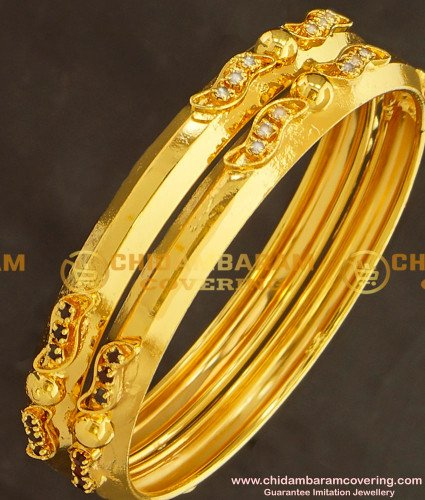 BNG127 - 2.8 Size Gold Look Stone Super Strong Gold Plated Bangles for Women