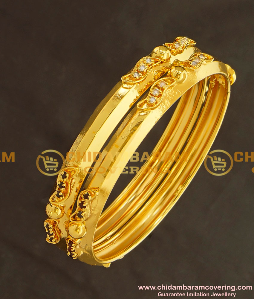 BNG127 - 2.6 Size Gold Look Stone Super Strong Gold Plated Bangles for Women