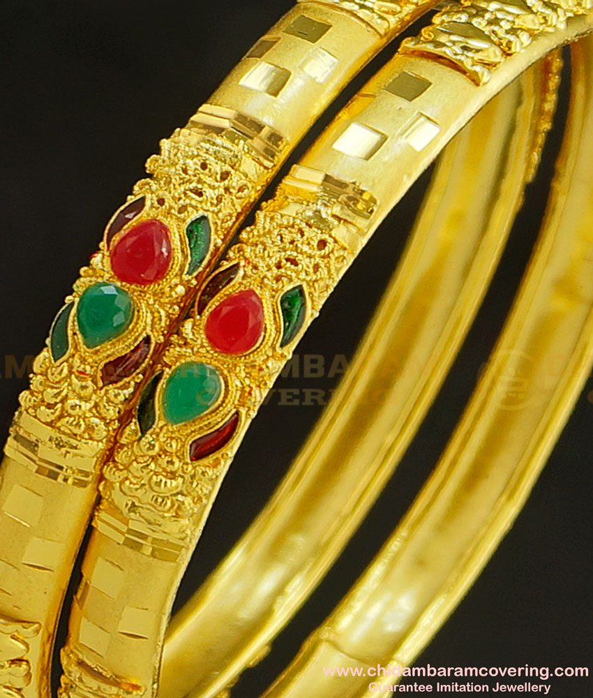 BNG229 - 2.4 Size New One Gram Forming Gold Stone Bangles Design Indian Wedding Bangles Set Online