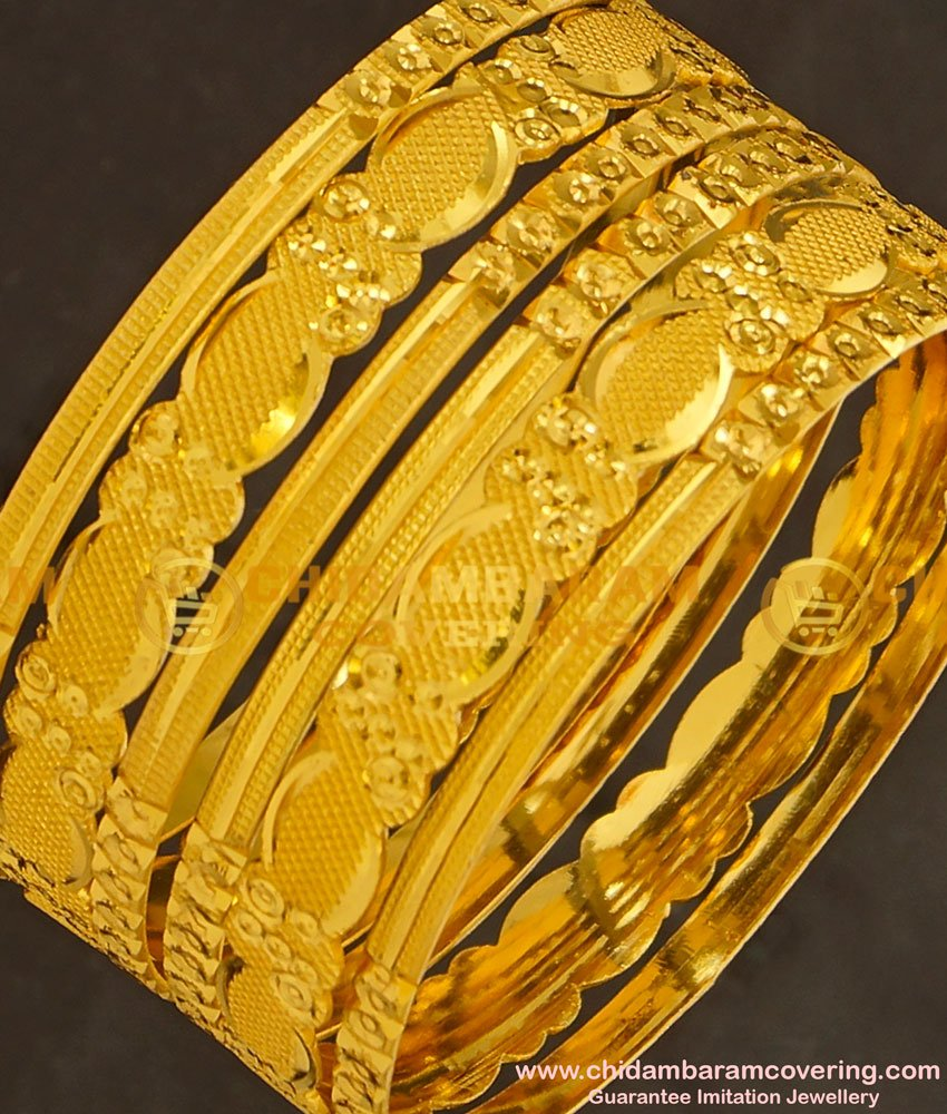 BNG130 - 2.8 Size Latest Model Gold Look 6 Pieces Non Guarantee Bangles Set for Women