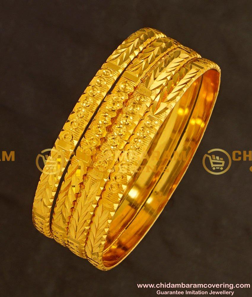 BNG131 - 2.6 Size New Model Golden Colour 4 Pieces Non Guarantee Bangles Set Online