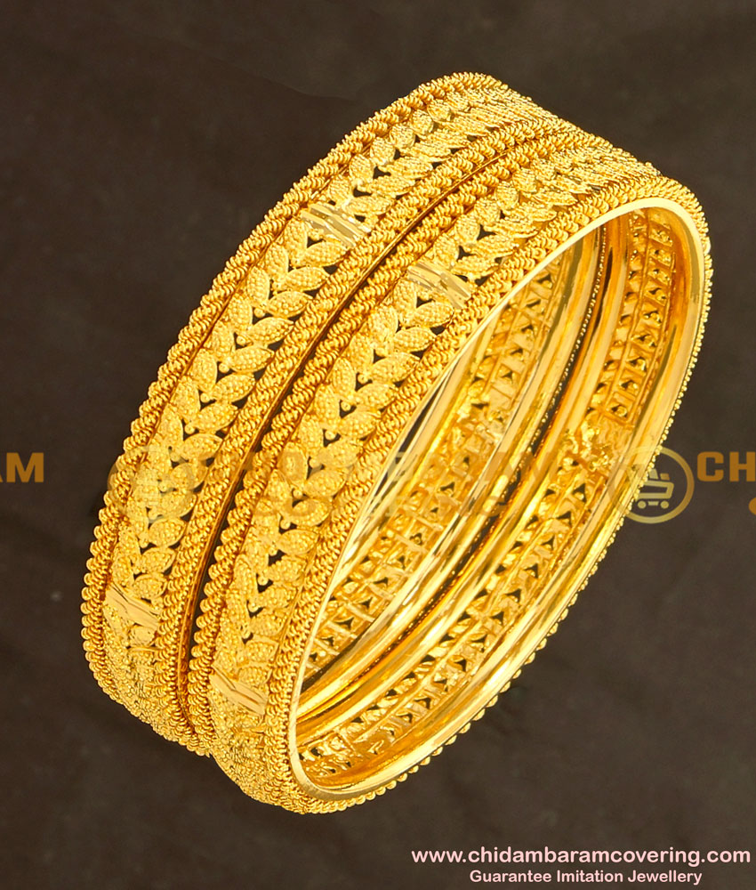 BNG133 - 2.4 Size Gold Plated Latest Collection Party Wear Leaf Design Bangles Online