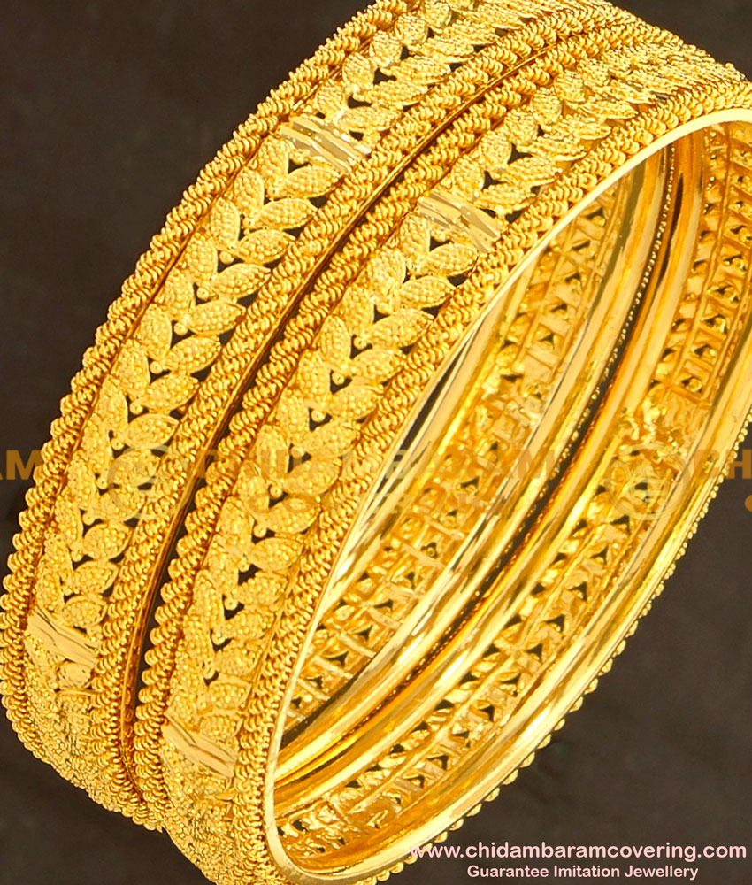 BNG133 - 2.8 Size Gold Plated Latest Collection Party Wear Leaf Design Bangles Online