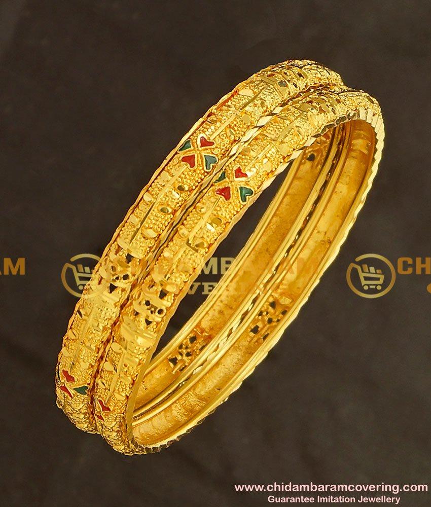 BNG141 - 2.6 Size Simple Look Light Weight Mansiyaorange Die Gold Bangles Online