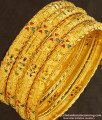 BNG142 - 2.8 Size Bridal Wear Light Weight Die Gold Bangles for Silk Saree