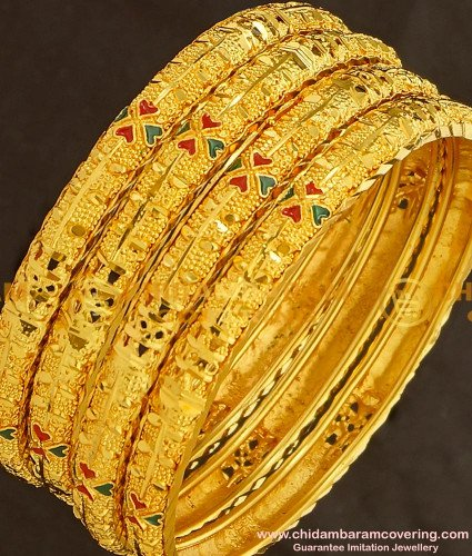 BNG142 - 2.4 Size Bridal Wear Light Weight Die Gold Bangles for Silk Saree