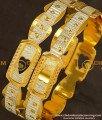 BNG144 - 2.8 Size Buy White Rhodium Finish Designer Bangles Die Gold Bangles Online