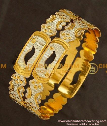BNG146 - 2.8 Size Designer White Rhodium Laser Cut Bangles Collection buy Online