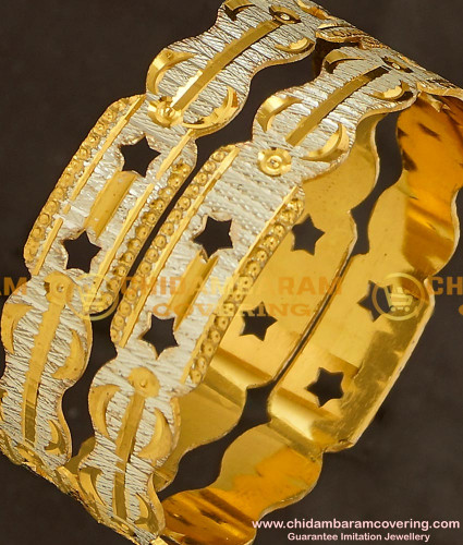 BNG148 - 2.8 Size Trendy White Gold Design Non Guarantee Bangles for Women