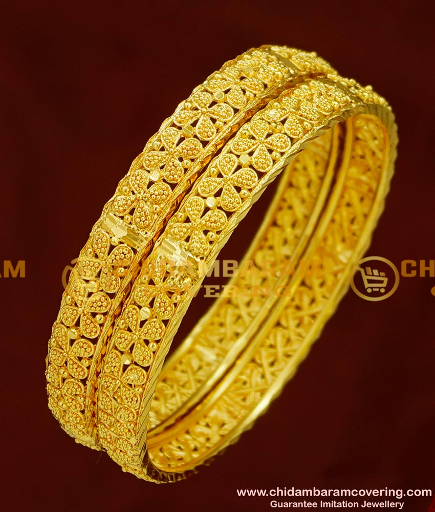 BNG152 - 2.4 Size Latest Elegant Floral Design High Quality Bangles Gold Plated Jewellery Online