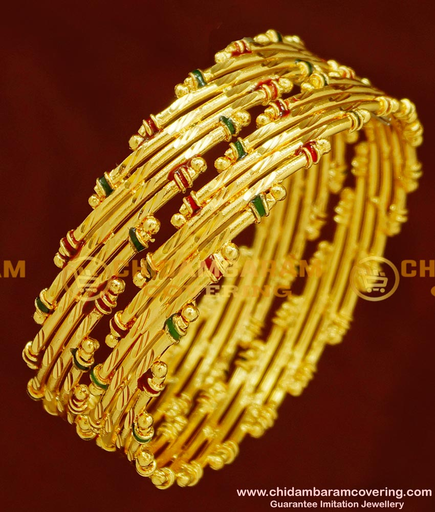 BNG154 - 2.4 Size Real Gold Look Bamboo Design Enamel Bangles Gold Plated Jewellery Online