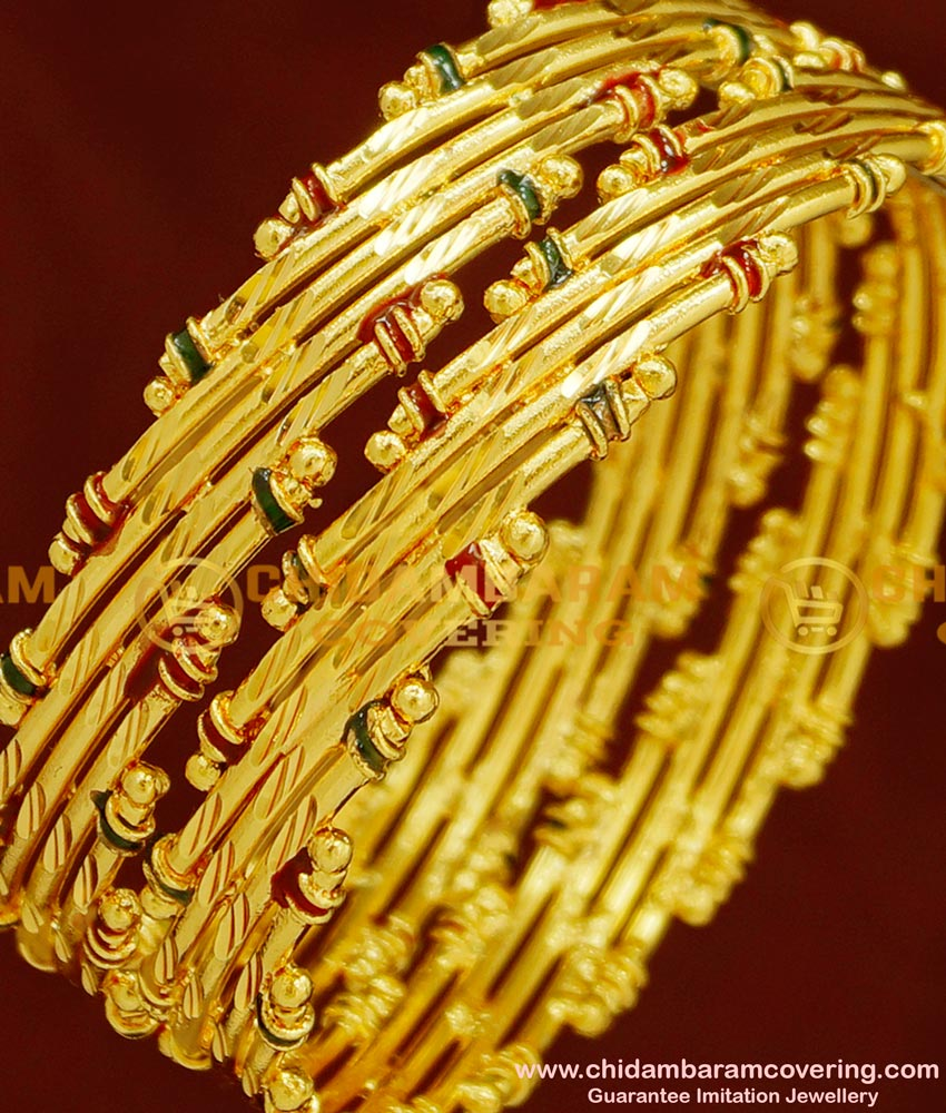 BNG154 - 2.8 Size Real Gold Look Bamboo Design Enamel Bangles Gold Plated Jewellery Online