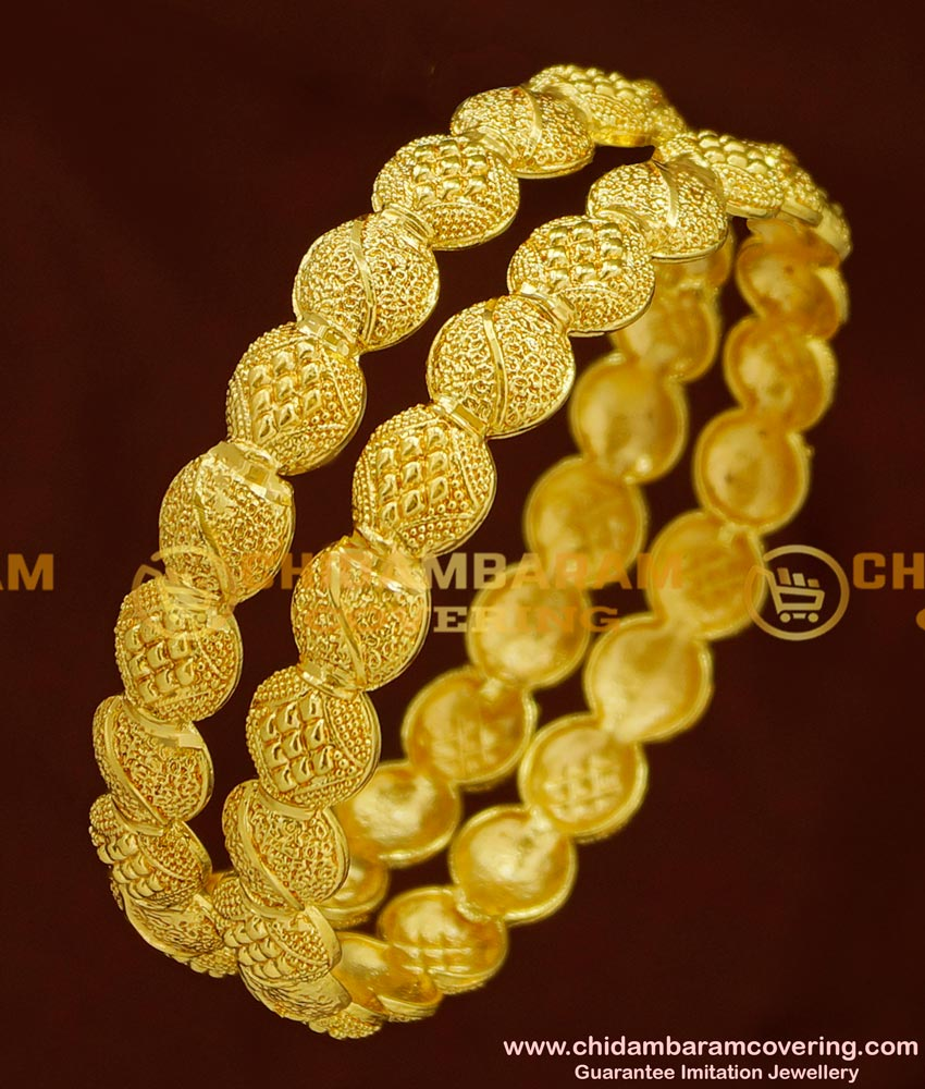 BNG155 - 2.6 Size Stunning Gold Light Weight Bangle Design New Party Wear Collections Online