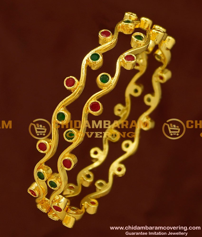 BNG157 - 2.8 Size Beautiful New Model Ruby Emerald Thin Curvy Bangles for Girls