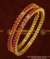 BNG158 - 2.6 Size Latest Designer Full Ruby Stone Bangle 1 Gram Gold Bangles Online