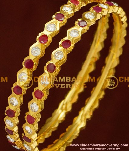 BNG159 - 2.8 Size Impon Bangle Stunning Gold First Quality Red and White Stone Five Metal Bangles Online