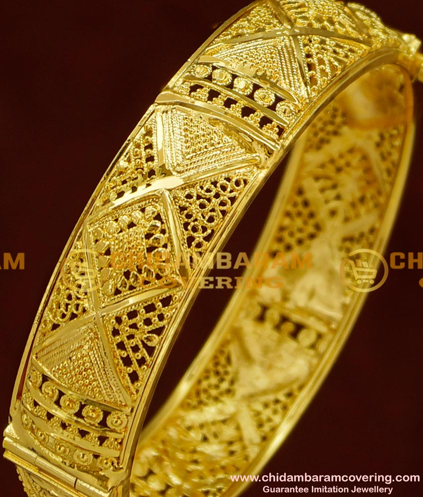 BNG161 - 2.6 Size Stunning Gold Party Wear Broad Single Kada Bangle Online Shopping