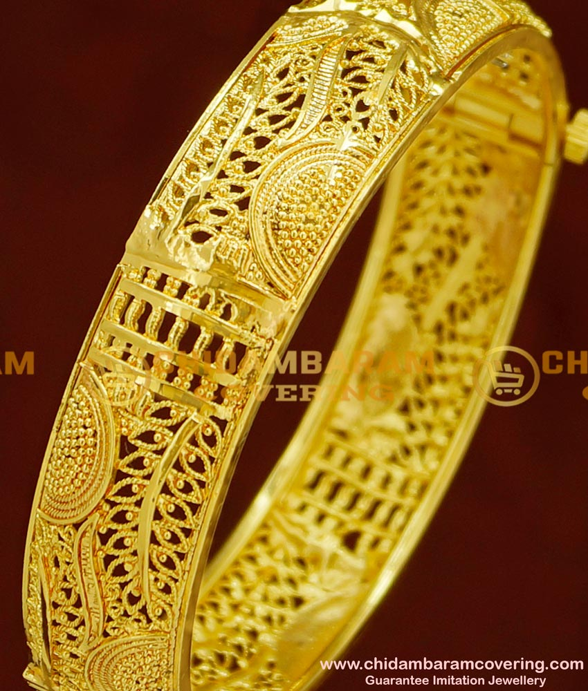 BNG162 - 2.4 Size Screw Type New One Gram Gold Kada Bangles Design for Ladies