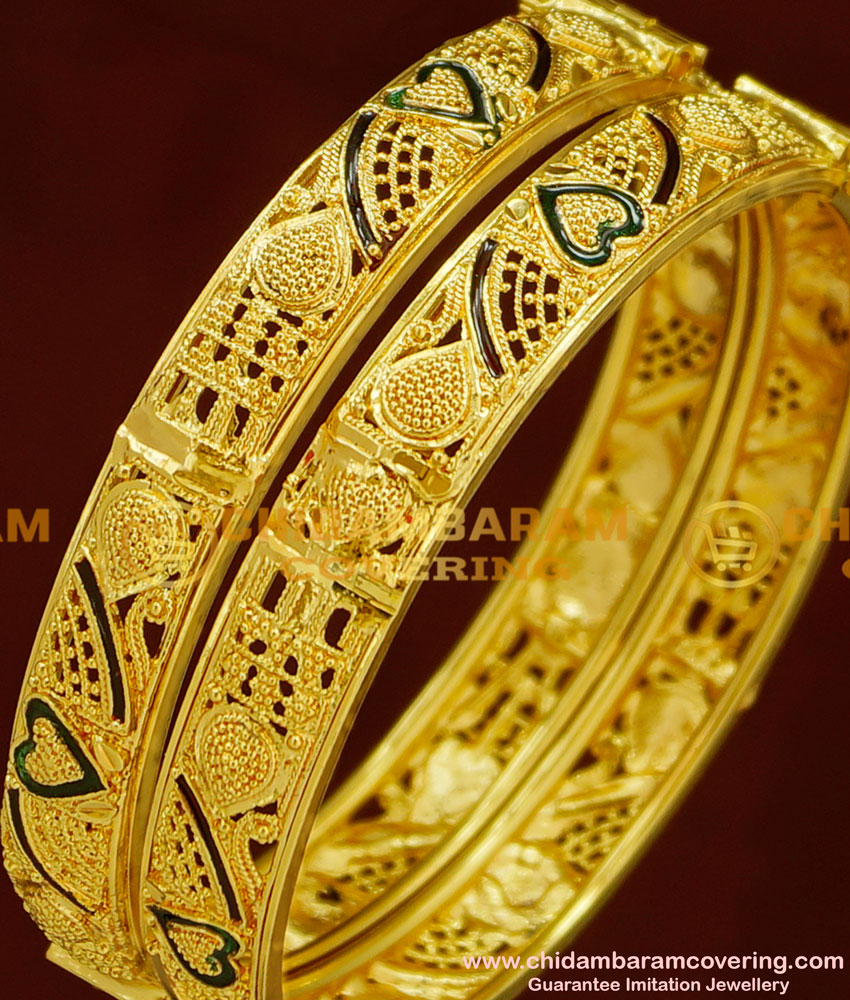 BNG163 - 2.4 Size Screw Type Gold Look Enamel Kada Bangles at Best Price Online
