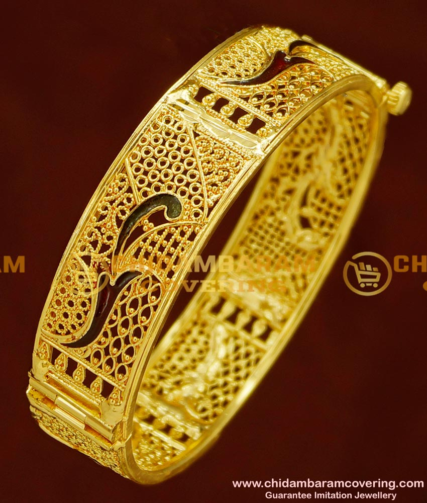 BNG164 - 2.4 Size Latest Beautiful Gold Design Enamel Coated Screw Type Single Bangle for Women/Girls