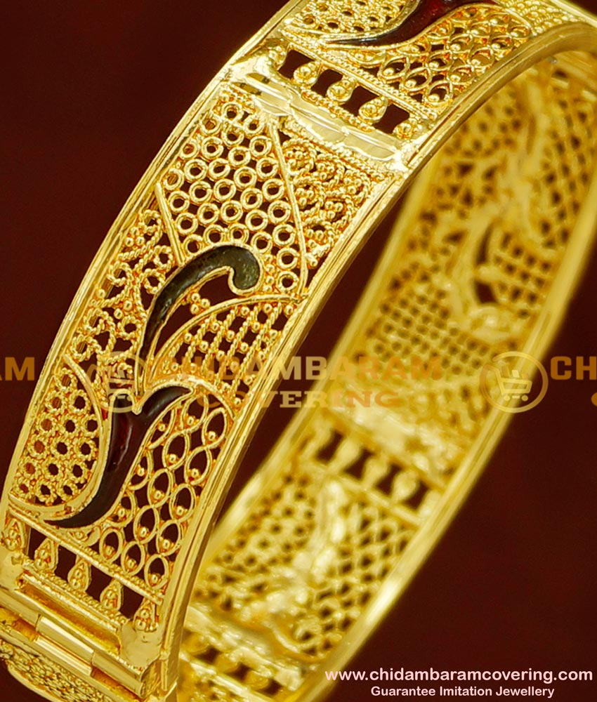 BNG164 - 2.4 Size Latest Beautiful Gold Design Enamel Coated Screw Type Single Bangle for Women/Girls