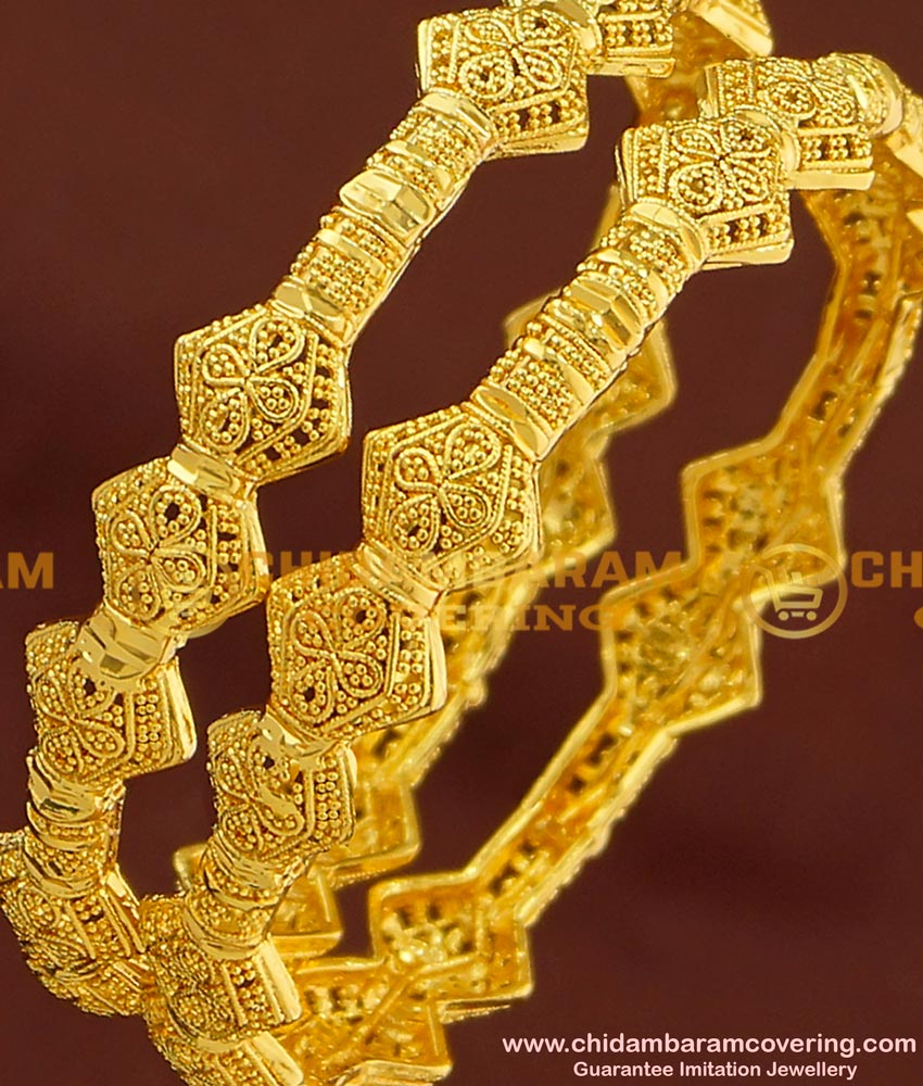 BNG172 - 2.8 Size Unique Light Weight Party Wear Bangles Design One Gram Jewellery Online