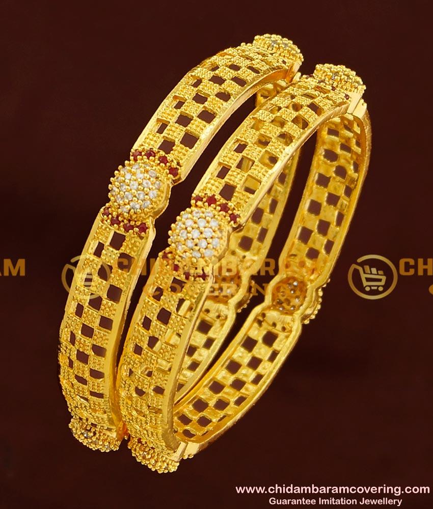 BNG177 - 2.6 Size New Fashion CZ Stone Bangles Design One Gram Gold Bangles Online
