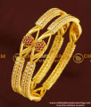 BNG178 - 2.8 Size Elegant Finish Red and White Designer AD Stone Bangles for Women