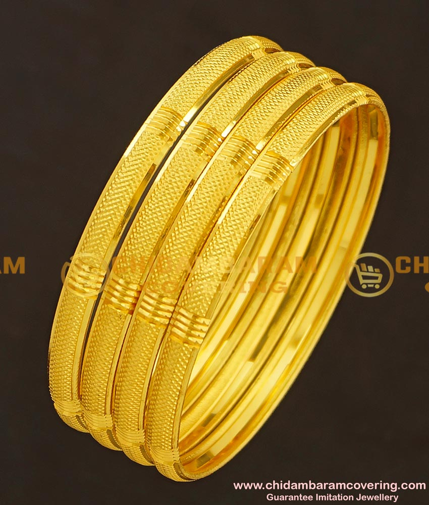 BNG181 - 2.6 Size Golden Colour Light Weight Non Guarantee Bangle Set Of 4 Pieces for Women