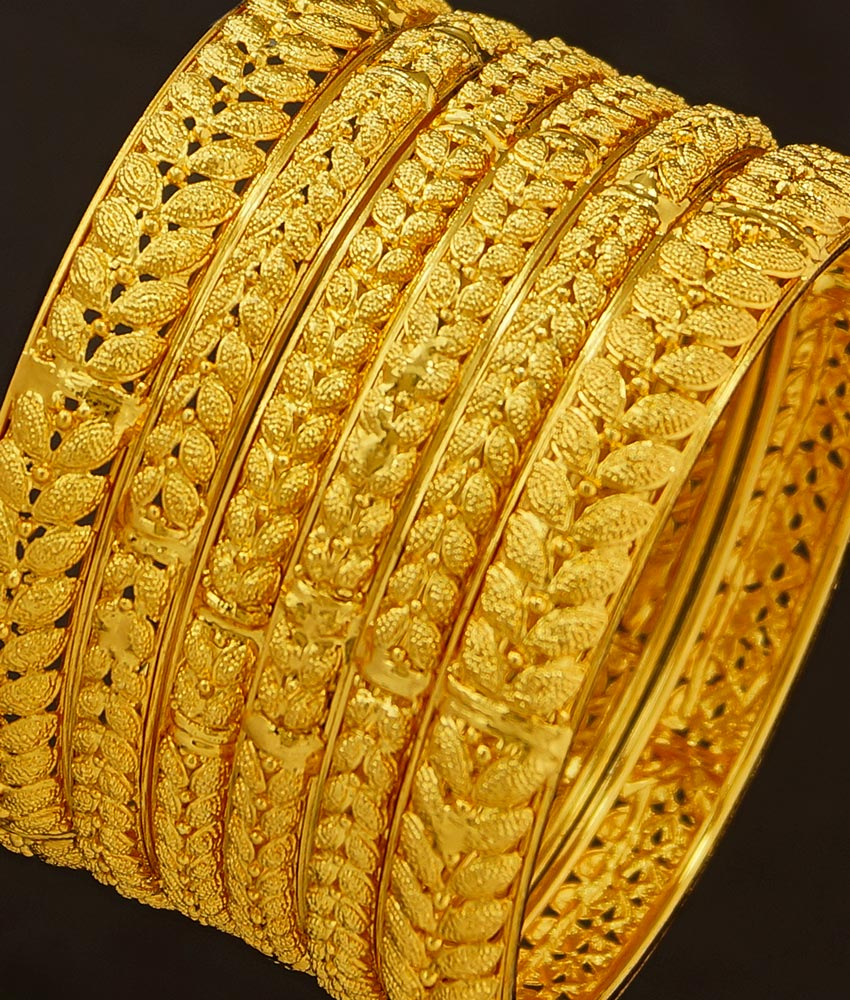 BNG188 - 2.8 Size Latest 6 Piece Bangles Set Bridal Wear Dye Gold Bangles for Wedding