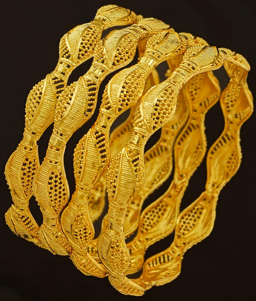 BNG190 - 2.4 Size 4 Pieces Light Weight Gold Bangles Designs Non Guarantee Bangle Low Price Buy Online