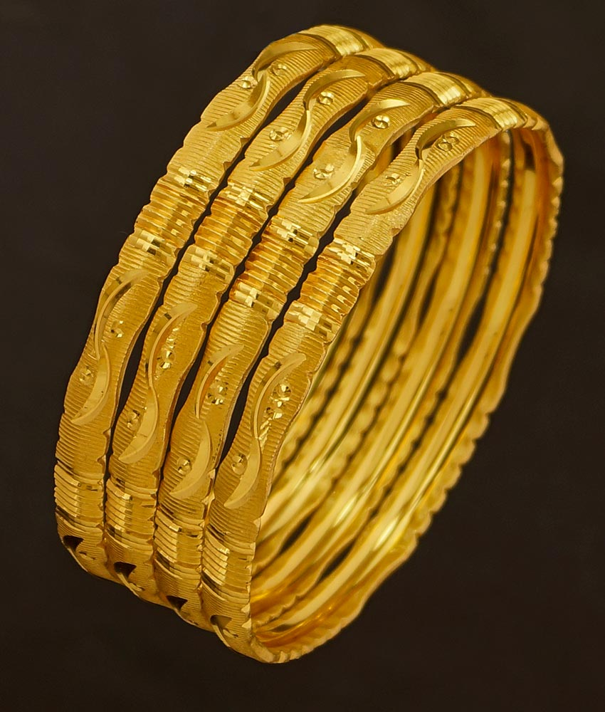 BNG193 - 2.6 Size Light Weight Gold Cutting Bangle Design Dye Gold Set Of 4 Pieces Bangle for Women