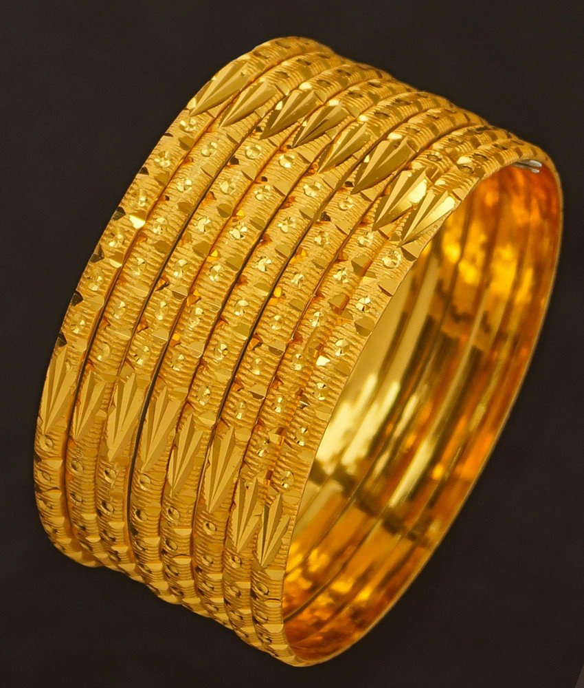 BNG197 - 2.4 Size Traditional Plain Gold Color Bangle Set Of 8 Pieces Bangles for Wedding