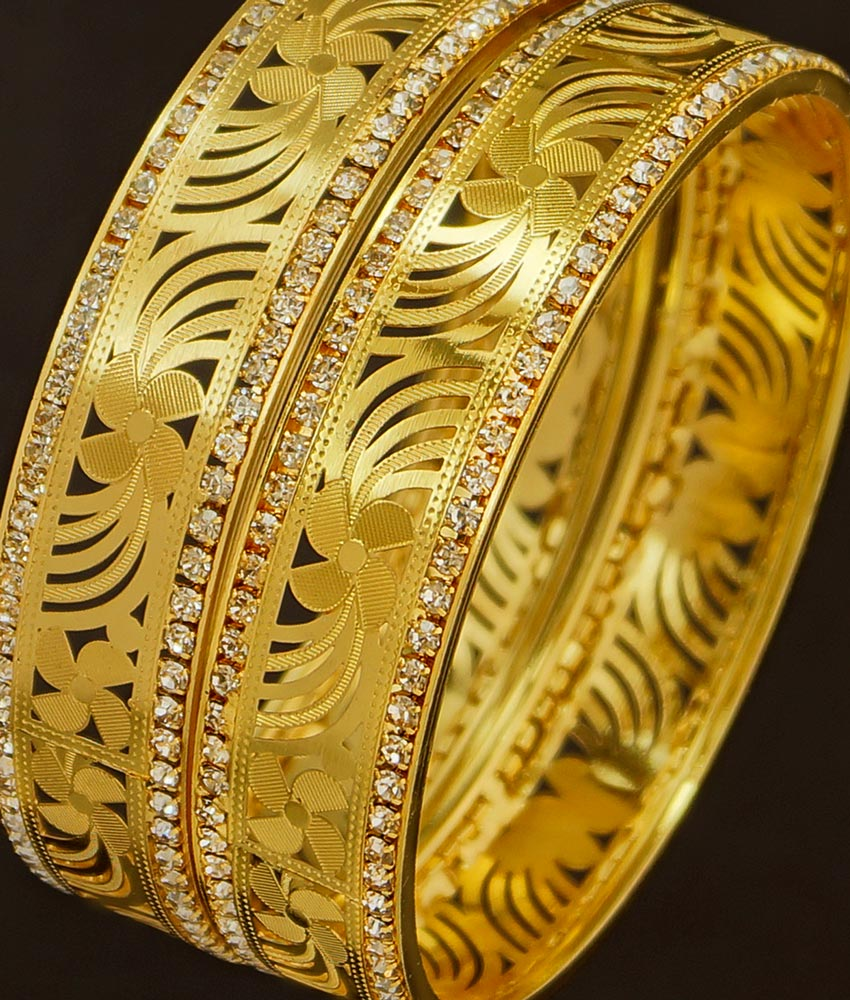 BNG198 - 2.4 Size Stylish Look White Stone Party Wear Non Guarantee Bangles For Women