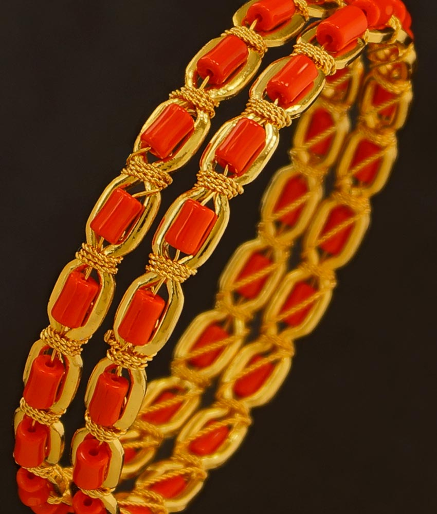 BNG199 - 2.6 Size Traditional Coral Bangles Designs Dye Gold Bangles Buy Online